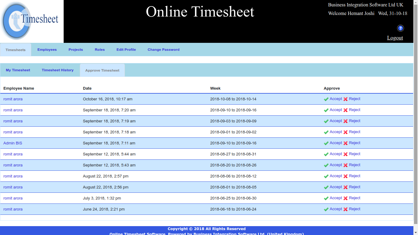 Online Work Time sheet Software, Online Small Business Weekly Timesheet, Online Employee Monthly Timesheets Software